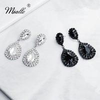 Agua Miallo 2020 más nuevo Negro bodas de plata del color pendiente de cristal austriaco nupcial del pendiente de gota de las mujeres gota para el oído