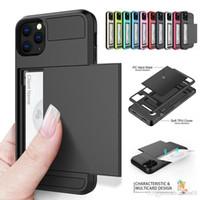 Casos de las ranuras de la tarjeta de la billetera trasera del teléfono universal para el iPhone 12 11 xs XR PRO MAX 7 8 PLUS TPU + PC Tarjetas de diapositivas de la carpeta de la armadura