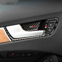 Carbon Fiber Car Interior Door Handle Cover Trim Door Bowl Stickers Decoration for Audi A4 2009-2016 Accessories