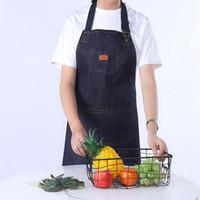 الدنيم المرايل مآزر المطبخ للجنسين المرأة الرجال الطبخ مطعم باريستا العمل المريلة جان Tablier Delantal