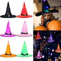 Luminosa bruja de Halloween sombrero con LED de luz brillante sombrero de las brujas de Halloween Decoración colgante Suspensión del árbol que brilla Sombrero para Niños Adultos