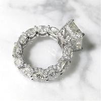 Cocktail luxus schmuck 925 sterling silber strahlung geschnitten weiß topaz cz diamant ewigity party frauen hochzeit engagement band ring für liebe