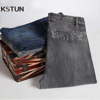KSTUN Jeans für Männer Grau Gerade geschnittene Elastizität Business Casual Frühling Herbst Herren-Jeans-Hosen Denim Gesäßtaschen Desinger