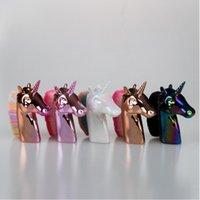 Oro espori Brocha para rubor y unicornio individual cosmética unicornio cabeza de caballo de maquillaje cepillo cepillo de la fundación del envío libre rápido