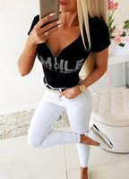 Women Fashion New Club Tops Women Black V-neck Zipper Tshirts Woman Rhinestone Letter Slim Sexy Tees