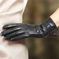 다섯 손가락 장갑 2021 패션 여성 도착 터치 스크린 정품 가죽 손목 솔리드 겨울 플러스 벨벳 운전 Sheepskin Glove L165NC2