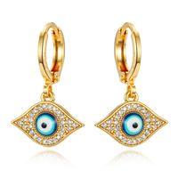 1 Pair Micro-Inlay Zircon Turco Evil Eye Orecchini per occhio per le donne Glitter Gold Color Crystal Circle Cerchio Piccolo orecchino Gioielli Turchia