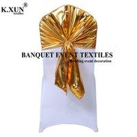 25 50 100pcs Bronzing Beschichtete Metallic Spandex-Stuhl-Kappen-Abdeckung Bankett-Stuhl-Haube für Hochzeit Ereignis-Party-Dekoration