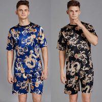 Uomini raso di seta Pijama Set manica corta pigiama O collo pigiama Homme moda Sleepwear Set top e shorts per l'estate