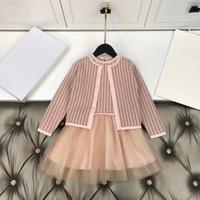 الشحن مجانا 2020 وصول جديدة سترة طفل فتاة الملابس وردي + مجموعة اللباس أعلى مستوى من الجودة ملابس أطفال 100-150 في الأوراق المالية