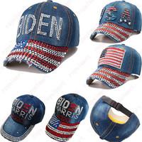 미국 카우보이 모자 2020 미국 선거 활동 바이든 해리스 모자 블링 블링 다이아몬드 야구 IIA637 캡 모자 미국 플래그를 뾰족