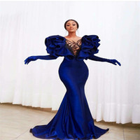 Sexy Mermaid African Evening Dresses Luxury Beads Sequins Ap...