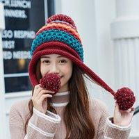 Mütze / Schädelkappen 2021 Wollhut Frauen koreanische Farbe stecken flaumig kugel gestrickter dreifach pelziger ohr schutz warmer winter