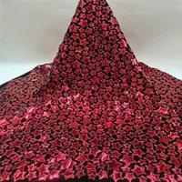 de rouge africain dentelle Tissu 2020 Monnaie de haute qualité dentelle française Net broderie Tulle velours Tissus Pour le Parti nigérien Robe