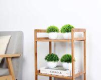 Dekorative Blumen Kränze 4 Stück Künstliche Pflanze Topf Plastik sphärische Gefälschte Baum Frisches grünes Gras im weißen Topf für Heimtextilien
