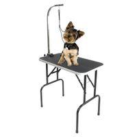 Waco 32 polegadas portátil Pet mesa de grooming, ferramentas de beleza do noivo, pernas de aço dobrável borracha ajustável tapete de borracha, animais de estimação cães gatos coelho chuveiro secador tabelas, preto
