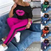 2020 Frauen Designer Trainingsanzug 2 Stück Set Herbst und Frühling Casual Lippe Englisch Gedruckt Rundhals Langarm Hosen Sport Outfit