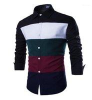 Мужские рубашки Сращивание мужская с длинным рукавом отворотом Одежда Мода Стили однобортный Homme Tops Spring Designer