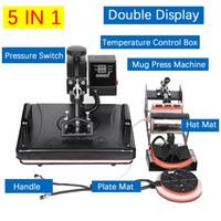 عرض مزدوج 30 * 38CM 5 في 1 كومبو الحرارة الصحافة آلة 2D التسامي طابعة آلة الطباعة تي شيرت لوحات كاب القدح حالة