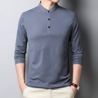 BROWON New Arrival Oversized T Shirt Men Autumn Casual Long Sleeve Stand T-shirt Men Solid Color Business Plus Size 4xl Tshirt