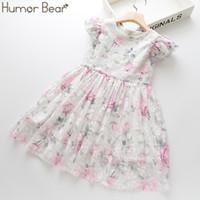 Юмор Медведь Summer Brand New Девушки одеваются Цветы Кружево шелкового платья моды девочки вокруг шеи Летучего рукава платье младенец Детская одежда
