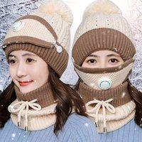 Mulheres inverno quente de lã malha Beanie Hat Scarf Respirar Sets Máscara válvula 3 em 1 Pompom malha Neve Caps LJJK2491