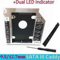 """Universal Aluminum 2nd HDD Caddy 12.7mm SATA III for 2.5"""" 12.5mm 9.5mm 9mm 7mm SSD Case Enclosure + Dual LED Laptop ODD"""