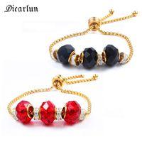 Charm Brazalets Dicarlun Red Black Glass Beads para las mujeres Oro Gold Acero inoxidable Cadena Rueda Ajustable Zircon Charms Jewelry