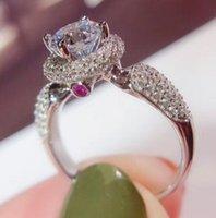 1CT Sterling Silver Wedding Anniversary Moissanite Diamond Ring Engagement Party Fine Smycken PT950 Kvinnor Passa Pass Diamond Pen Test 2021