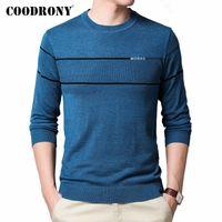 Мужские свитера Coodrony бренд свитер мужчины весна осень повседневная O-шеи пуловер одежда мода мягкий трикотаж протягивает хлопчатобумажную рубашку Homme C1031