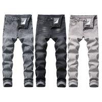 Motorrad-Männer Blass Jeans Vintage-gewaschenem Denim Jeans im Used-dünnen Bleistift-Hosen in 3 Farben Grau Hosen