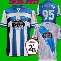 جديد 20 21 DePortivo La Coruna Home Soccer Jersey 2020 2021 Coruna Rober Pier Exposito Diego Rolan Santos Cartabia Football Compot