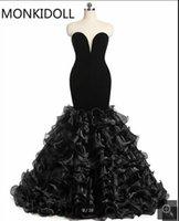 Vestido de Festa Real Picture Black Velvet Mermaid Prom Dress Strapless Sweetheart Neckline Underbara Layered Billiga Prom Kappor Bästsäljande