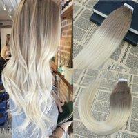 Omber Band in Haarverlängerungen # 6 fding zu # 613 Blonden Remy Menschenhaar-Haut-einschlag Nahtlose Band auf Haar-Verlängerungen 100g / 40pcs