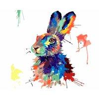Главная Украшения Росписи стен Номера DIY картина масло Painting- Красочный Кролик