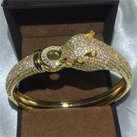 choucong Leopard Стиль браслет 400pcs фианитами желтого золота Заполненные браслет Обручальное для женщин свадебные Accessaries