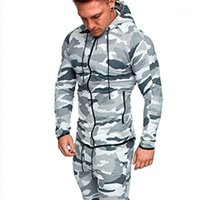 Sizen Mens Camouflage Coat Sportswear Sports Fitness Long Sleeve Hooded Mens Sweatshirts With Zipper Contrast Color Plus