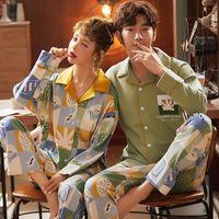 Sleep Heightwear Sleep Hauts Printemps Couple de Cardigan à manches longues Pyjamas Femme Mince Section Ménage Portez le costume simple
