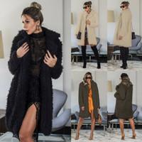 패션 2020 여성 가을 겨울 긴 소매 카디 건 재킷 슬림 피트 긴 양털 코트 소프트