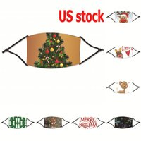 US Stock, Adult Christmas Masks Deer Tree Printed Xmas Face Masks Anti Dust Snowflake Mouth Cover Washable Reusable With Filter FY4238