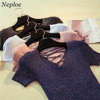 Neploe Katı Örme Lacing Kadın T gömlekler 2020 Yeni Kısa Kollu Parlak İpek Tişört Yaz V-Boyun Moda İnce Tişörtlü 67365
