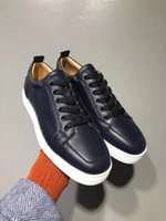 Nuovo colore Blu Dark Blue Genuine Pelle Red Bottom Shood Designers, Sneakers casual da uomo di lusso Sole rossa Rantolow Orlato Top Sneaker