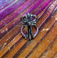 고품질 남성 레트로 바이커 스타일 스테인레스 스틸 중공 크롬 하트 반지 패션 펑크 크로스 반지 쥬얼리 선물