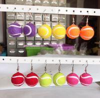 Люстра свисания 2 шт. / Пара смешанные цветные спортивные шарики серьги женщины мода ювелирные изделия теннисный мяч капля серьги женские девушки
