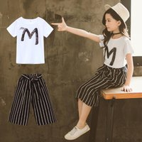 Teen Kids Girls clothes summer Fashion Letter Sequin Short s...