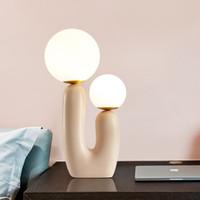 Post modern Led Masa Lambası Reçine Cam Topu Masa Lambaları İçin Oturma odası Yatak İskandinav Sanat Dekor Işık Ev Gece Abajur