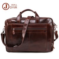 Joyir 2018 New Fashion cowhide male commercial briefcase Real Leather vintage mens laptop bag casual Pure color Business bag