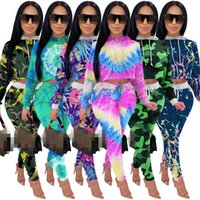 JRRY Casual Women Tracksuit Two Pieces Set Long Sleeve Hooded Top Long Pants 2 Pieces Set Tie Dye Sports Suit Print Outdoor Wear