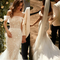 Gorgeous Mermaid Wedding Dresses Beads Appliqued Lace Spaghe...