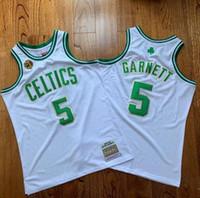 كرة السلةبوسطنسلتيكس5 Garnett 20 Allen Mitchell Ness 2007-2008 الأبيض الأخضر سوينغمان بلا أكمام جيرسي
